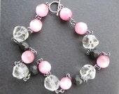 Vintage Glass Bead Choker, Sterling Silver, Pink Beads, Pink Candy, Vintage Rock Crystal, Matte Black Beads