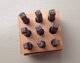 Vintage steel stamp number set industrial