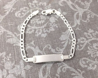 Engravable Sterling Silver Rectangle ID Link Chain Child Bracelet for Boy or Girl