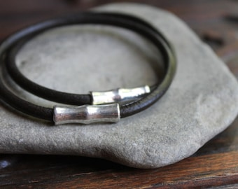 Sumatra Dark Brown Thick Leather Stacking Bangle Set with Silver Bamboo Accents