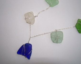 Sea Glass Necklace - Cobalt Blue, Aqua, Green, Seafoam - Sterling Silver Statement Necklace