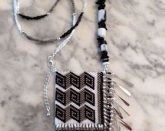 Black Gray and White Mini Pouch Beaded Necklace