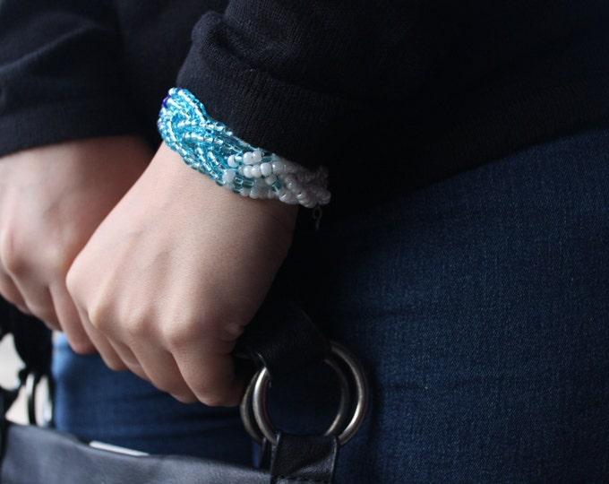 Blue Braided Beaded Bracelet.