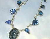 Blue Vintage Glass Necklace Sterling Silver Starry Night Art Deco Jewelry