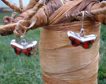 Sterling silver and rainforest seeds butterflies earrings eco-friendly jewel