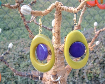 Playful eco-friendly earrings hoops and tagua buttons color blocking happy colors