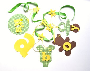 Baby shower decorations green and yellow It's a boy banner by ParkersPrints on Etsy