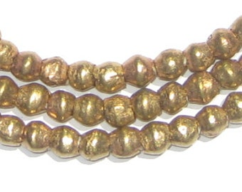 100 Brass Bicone Beads - African Metal Beads - 6mm Metal Bicones - Ethiopian Brass Spacers - Fair Trade - Made in Africa (MET-BIC-BRS-232)