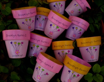 Small Flower Pots - Painted Flower Pots - Kids Party Favors