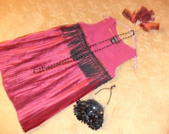 1920s Flapper 20s dress burgundy silk fringe Halloween COSTUME womens sz 6 Gatsby