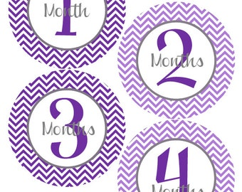 Monthly Stickers - Baby Month Stickers - Baby Purple Month Stickers - Watch Me Grow - Baby Shower Gift Photo Prop - Addy-T