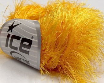 LONG EYELASH YELLOW superbulky chunky 50gr polyester ice yarns usa fancy fur craft rug 1 skein ships from usa at usps cost 13279