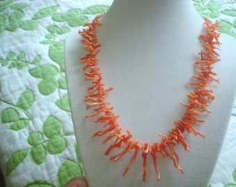 Branch Coral  Bead Jewelry  Necklace 10K Clasp.