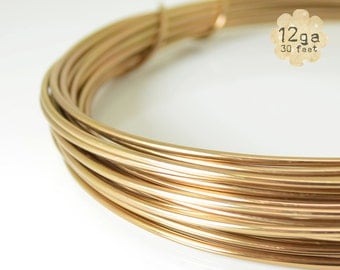 30ft 12ga Aluminum Craft Wire - 12 gauge, 9.2m, wire wrapping, jewelry, crafts, floral designs - Lt Copper