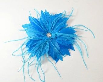 Feather Fascinator with Brooch and Clip, handmade-Turquoise
