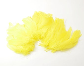 60-80pcs Goose Satinettes loose feathers, 6 grams, Yellow