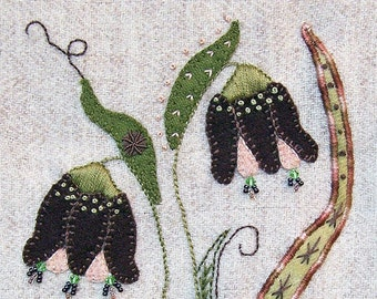 Jacobean Flower Wool Applique, Hand Embroidery / Pattern / Jac 029