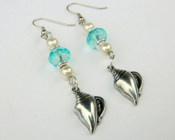 Blue Crystal and White Glass Pearl Dangle Earrings with Shells