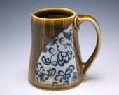 Large Coffee Mug - Blue Floral Cup with Stripes
