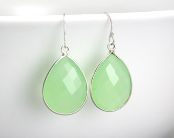 Seafoam Green Chalcedony - Gemstone Drop Earrings