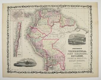 1861 Johnson Map of South America Map, Venezuela Peru Map, Bolivia Chile Map Guiana, Latin America Art, Antique Map, Wedding Gift for Couple