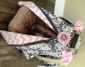 Carseat Canopy Baby pink and Grey  STUNNING