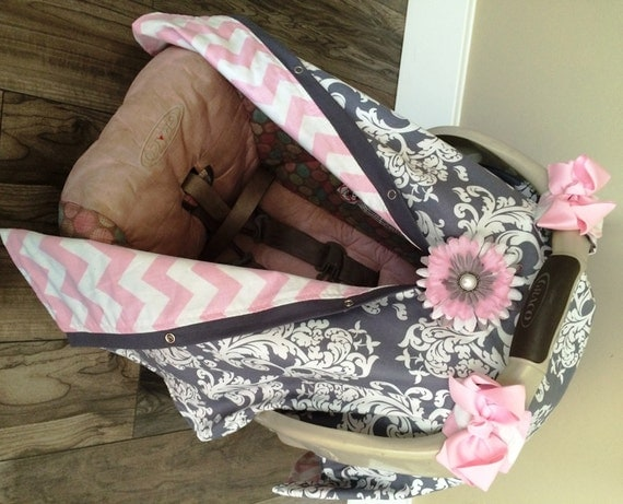 Carseat Canopy Baby pink and Grey  STUNNING /  carseat canopy / carseat cover / car seat cover / nursing cover