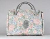 Vtg 1990's Floral Tapetry Pink Grey Cross Textured Hand Bag Bookbag Book Cover
