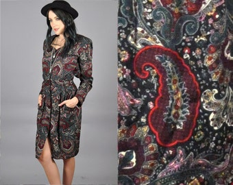 Vtg 1990's PAISLEY Jewel Tone Midi Dress
