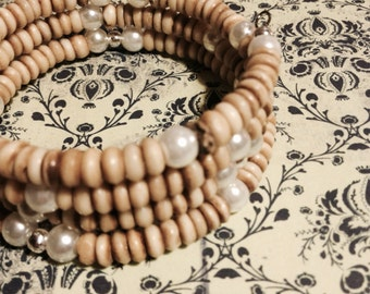 50% off SALE - Bracelet - Memory Bracelet - Natural Wood and Pearl