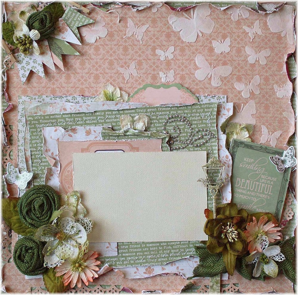 Premade 12x12 Shabby Chic Scrapbook Layout Prima