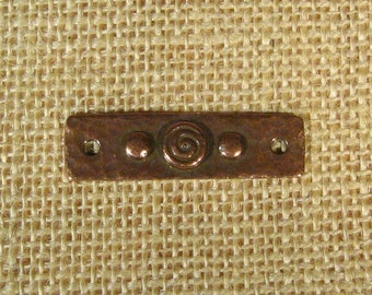 TierraCast Spiral and Rivets Focal Link for Flat Leather - Antique Copper - Choose Your Quantity