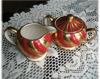 Sadler England 1840 Creamer and Covered Sugar Bowl Red Orange Gold Swirl Stripes Funky Fifties Mid Century Mod