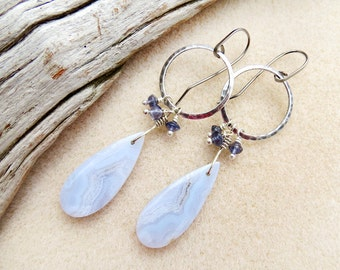 Blue Lace Agate Matching Stone Earrings, Iolite, Light Blue, Niobium Ear Wires, Non-allergenic, Silver, Wire Wrap, Handmade Earrings Jewelry