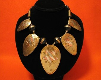 BIG Vintage Mixed Metals Silver Copper Brass Woven Star Fan and Black Bone Beaded Bib Necklace