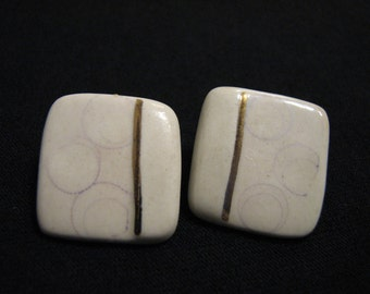 Vintage Gold and Cream Enameled Porcelain Square Pierced Earrings