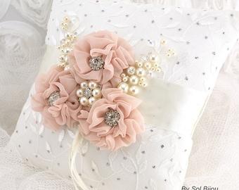 Ring Bearer Pillow, Blush, Ivory, Silver, Wedding, Bridal, Lace Ring Pillow, Crystals, Brooch, Pearls, Vintage, Elegant Wedding, Gatsby