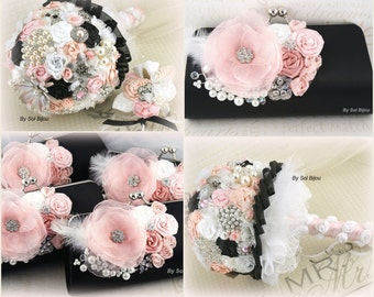 Brooch Bouquet, Clutches, Pink, White, Black, Handbags, Wedding, Bridesmaids, Pearls, Crystals, Brooch, Feathers, Elegant, Vintage Style