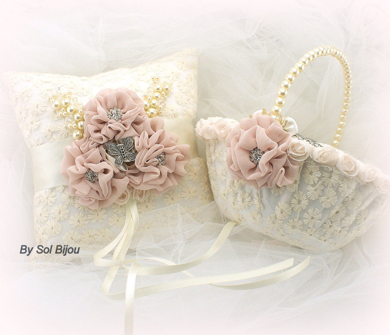 Vintage Flower Girl Basket And Ring Bearer Pillow : Ring bearer pillow flower girl basket butterfly blush