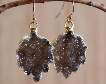 Gold Espresso Brown Leaf Shape Dangle Earrings - Fall Inspired