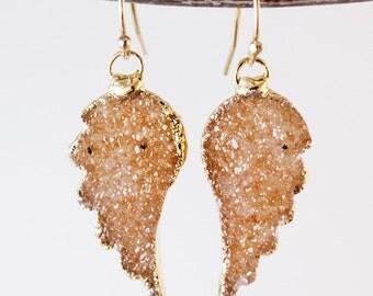 50% OFF SALE - Orange Druzy Angel Wing Earrings - Peach Champagne Druzy - 14K GF, Choose Your Druzy