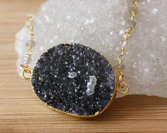 50% OFF SALE - Black Agate Druzy Necklace on Blue Labradorite Chain - Connector Pendant