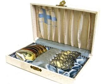 6 vintage silver demitasse spoons  ...  finland  ...  mid century finnish tea spoons