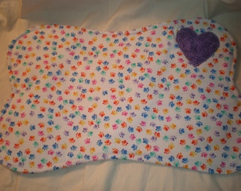Dog Bone Placemat Bright Paw Prints  Reversible Cotton Quilted Purple