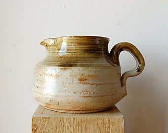 Handmade Wheel Thrown Small Organic Ceramic Pitcher with Texture Matte and Glossy Glaze