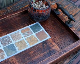 "Serving Tray. Rectangular Ottoman Tray. Slate Serving Tray. Slate Ottoman Tray. ""Natural Slate"" Centerpiece. 13 x 24.  Dark Brown Finish."