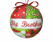 Big Brother Kids Christmas Ornament Childs Quilted Gift Idea Handmade Boys Tree Decoration Holiday Home Decor  ReadyTo Ship by CraftCrazy4U