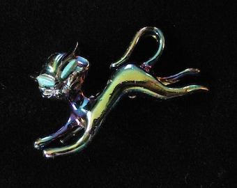 Mid Century Modern Iridescent Blue Enamel Cat Scatter Pin
