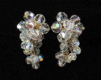 Dangling Crystal Cluster Waterfall Earrings, AB Crystal Beads