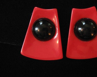 1980's Large Red and Black Lucite Earrings